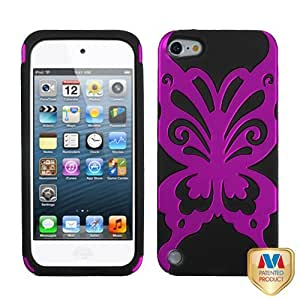 Snap on Cover Fits Apple iPod Touch 5 (5th Generation) Titanium Solid Hot Pink/Black Butterflykiss Hybrid (Please carefully check your device model to order the correct version.)