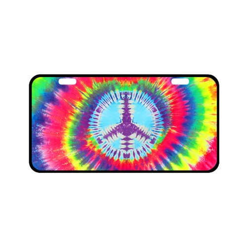 """EnnE Personalized License Plate Cover Peace Tie Dye For Car 2 Holes Car Tag 11.8"""" X 6.1"""""""