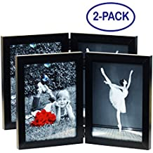 "(2-Pack) 5x7 Inch Hinged Dual Picture Wood Photo Frames with Glass Front - Displays Two 5""x7"" Inch Collage Pictures, Double Folding Picture Frame Stands Vertically on Desktop or Table Top"