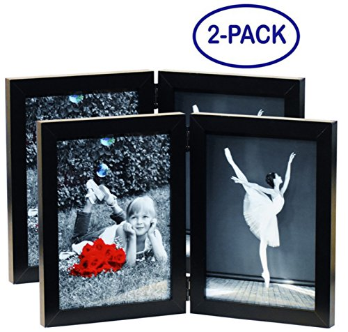 (2-Pack) 5x7 Inch Hinged Dual Picture Wood Photo Frames with Glass Front - Displays Two 5
