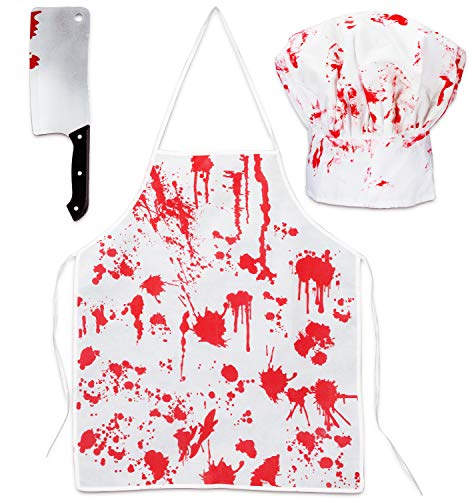 Halloween Bloody Butcher Costumes Scary Set - Cooking Chef Apron Hat Weapon Knife Zombie Party Accessories Decorations 3PCS Red,White -