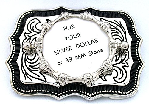 (Silver Dollar 39mm Cabochon Antiqued Silver Plate Southwest Belt Buckle Mounting CF921)