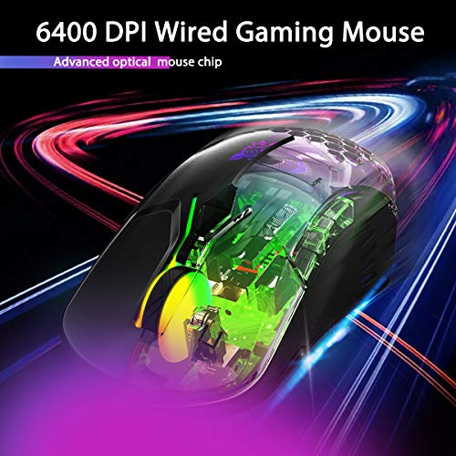 FVF Gaming Mouse Wired, 6400 DPI Adjustable, 7 Programmable Buttons, Ergonomic Game|RGB|USB Computer Mice, Gamer Desktop Laptop PC Gaming Mouse, 7 Buttons for Windows XP/7/8/10 Mac OS Linux