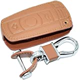 Leather Car key Cover Cases For BMW 3 5 6 Series M3 M5 X 1 X5 X 6 Z4 Smart Car Remote Controller Key Holder 3 Buttons (Brown)