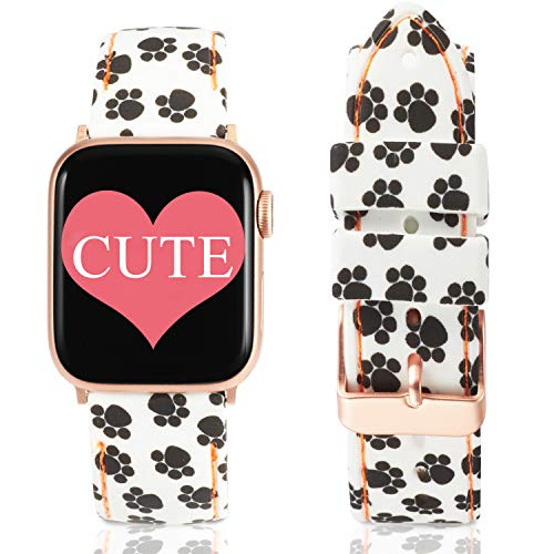 Allbingo Super Cute Bands Compatible with Apple Watch Band Series 4 40mm 44mm Rose Gold Clasps, Silicone Replacement Straps for iWatch 38mm 42mm Series 3/2/1 (Beautiful Paw/Rose Gold, 38mm/40mm) ()