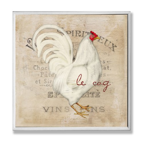 The Stupell Home Decor Collection Le Coq White Rooster Wall Plaque