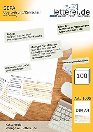 SEPA-Überweisung/-Zahlschein mit Quittung, 100 Blatt A4, unteres 1/3 ...