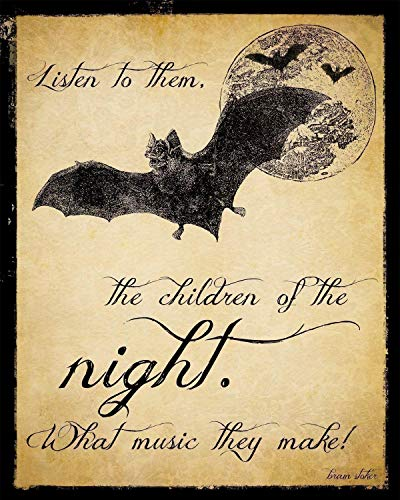 Children of the Night Dracula Literary Quote. Vintage Style Fine Art Print For Classroom, Library, Home or Dorm. Fine Art Paper, Laminated, or Framed. Multiple Sizes Available -