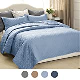 "Quilt Set Solid Grayish Blue Twin Size(68""x86"")2 Piece Coverlet Set Basketweave Pattern Bedspread Lightweight Hypoallergenic Microfiber ""Simone"" by Bedsure"