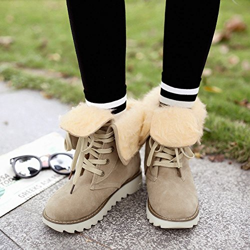 Mee Shoes Women's Warm Platform Lace Up Round Toe Boots Beige C5haD