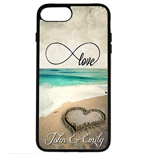 (iPhone 8 Plus Case, iPhone 7 Plus Case, ArtsyCase Infinity Love Beach Sand Heart Couple Personalized Name Phone Case for iPhone 7 Plus and iPhone 8 Plus)