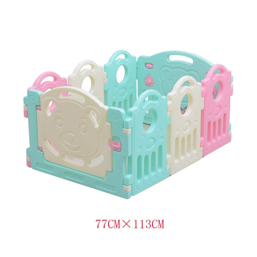 JSSFQK 子供の遊びのフェンスベビーフェンスの自宅の安全フェンスの赤ちゃんの室内クロールマットの幼児 保護フェンス (サイズ さいず : 77CM×113CM) 77CM×113CM  B07NQ8H7Z6
