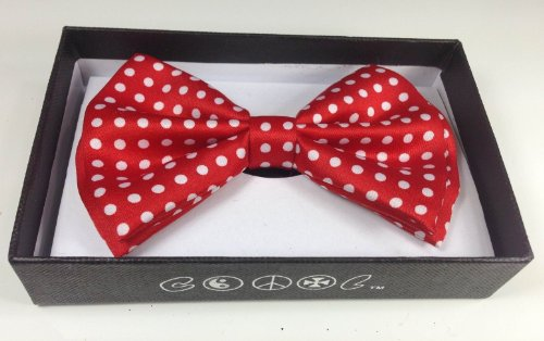 (New Red with White Polka Dots Neckwear Adjustable Unisex Bow)