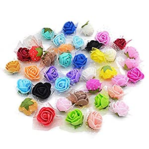 YONGSNOW 200Pcs/lot 2cm Mini PE Foam Rose Artificial Silk Flower Heads for DIY Wreath Wedding Decoration 86