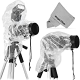 (2 Pack) Rain Covers for DSLR Cameras (Canon, Nikon, Sony, Pentax, Olympus, Fuji & More) - Including T5i T4i T3i T3 T2i SL1 70D 60D 7D 6D D7100 D5300 D5200 D5100 D3200 D3100 D810 - Includes: Large Cover for use with Flash + Regular Rainsleeve
