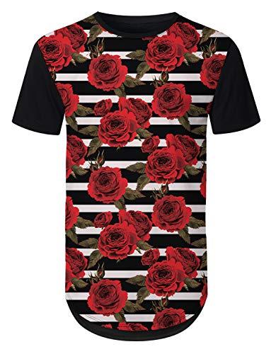- URBANTOPS Mens Hipster Hip Hop Red Rose Striped Longline T-Shirt Black, XXL