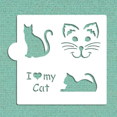 I Love My Cat Cookie and Craft Stencil CM028 by Designer Stencils by Designer Stencils
