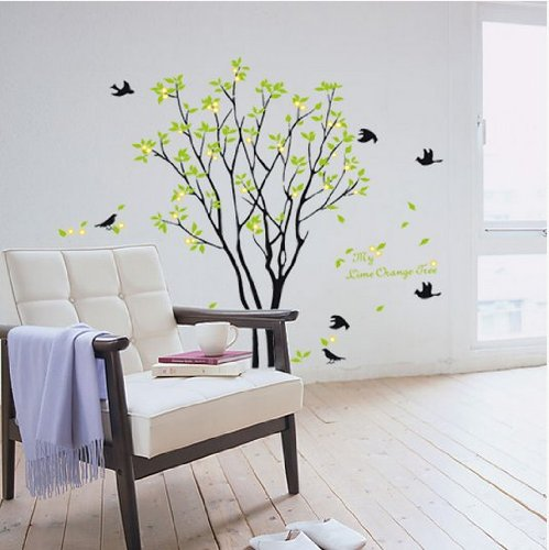 Hotportgift 90*60cm Birds Sing On the Tree Wall Stickers Decals Decor Art Mutual (Mutual Art)