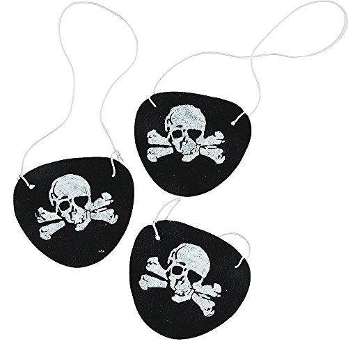 Tytroy Felt Pirate Eye Patches Skull Birthday Party Favors Photo Booth Prop Costume Dress up 24pc -