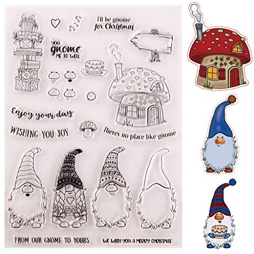 Santa Gnome 1Set Silicone Clear Stamp with Cutting Dies Stencil DIY Scrapbooking Embossing Photo Album Decorative Paper Card Craft Art Handmade