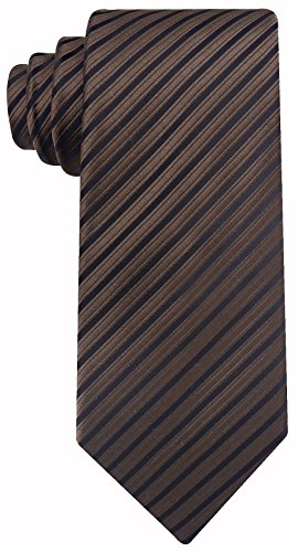Neckties by Scott Allan - Chocolate Brown Striped Mens Tie (Pink Brown Striped Tie)