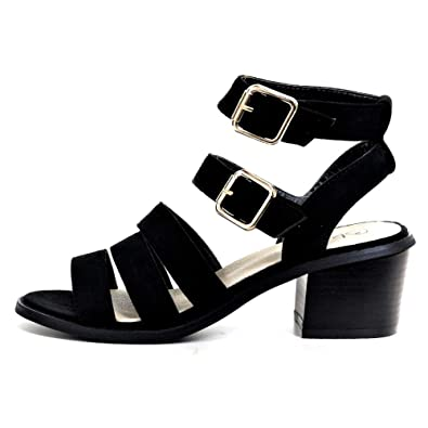 9ccab20d62d New Womens Mid Block Heel Sandals Buckle Ankle Strap Summer Strappy Shoes ( 36   3