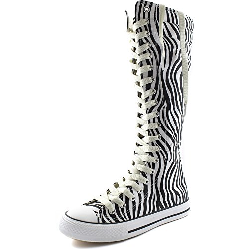 Dailyshoes Toile Femme Mi-mollet Bottes Hautes Casual Sneaker Punk Plat, Beige Zèbre Bottes, Dentelle Beige