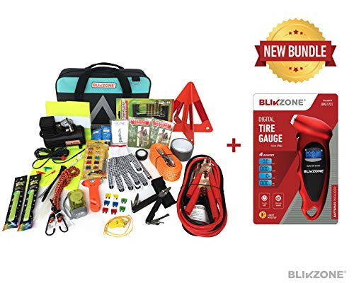 (Blikzone Auto Roadside Assistance Car Kit Aqua Bundled 82 Pc for Vehicle Emergency: Portable Air Compressor, Jumper Cables, Tire Repair Kit, Digital Tire Pressure Gauge to Travel and Drive Safely)