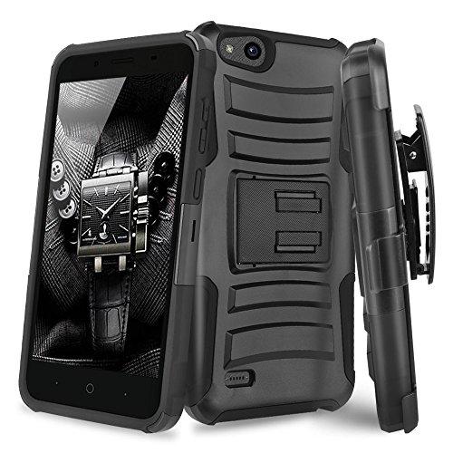 ZTE Tempo X Case, ZTE Avid 4 Case, ZTE Blade Vantage Case, ZTE FANFARE 3 Case, ZTE ZFIVE G LTE Case, TJS Hybrid Shock Absorbing Impact Resist Kickstand Armor Case Belt Clip Holster (Black/Black)