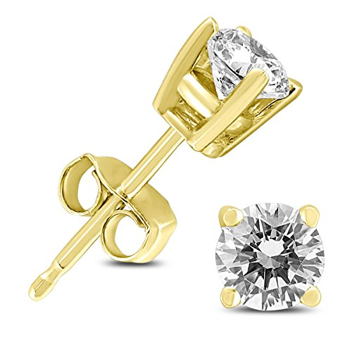 (14K Yellow Gold 1/2 Carat TW Round Diamond Solitaire Stud Earrings)