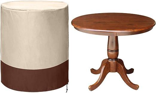 Cheng Yi CYFC79 - Funda de Mesa Circular pequeña para jardín, Patio, Mesa Redonda y Funda de Silla, 600D Oxford Impermeable para Muebles de Patio con diseño de Cuerda de Dibujo: Amazon.es: