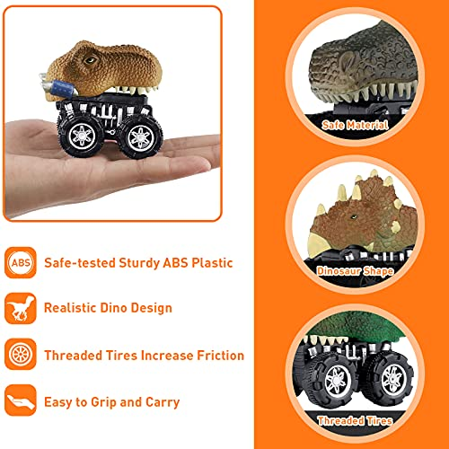 Dinosaur Toys for 3 Year Old Boys, Pull Back Car Dinosaur Toys for Kids, Dinosaur Car Toys Dino Pull Back Vehicle, Christmas Birthday Party Gift for 4 5 6 7 Years Old Boys Girls(16 Cards Included)