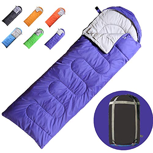 VERZEY Envelope Camping Sleeping Bag, Great for 4 Season, Traveling Camping Hiking Outdoor Activities Waterproof Sleeping Bag for Adults,Kids,Boys and Girls(Purple, Rectangular)