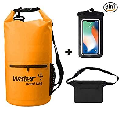 TGL Outdoors Waterproof Dry Bags Set Of 3 - Detachable Shoulder Strap, Waist Pouch & Phone Case - Water proof For Swimming, Kayaking, Rafting & Boating, Over-shoulder Small Stuff Sack-Backpack