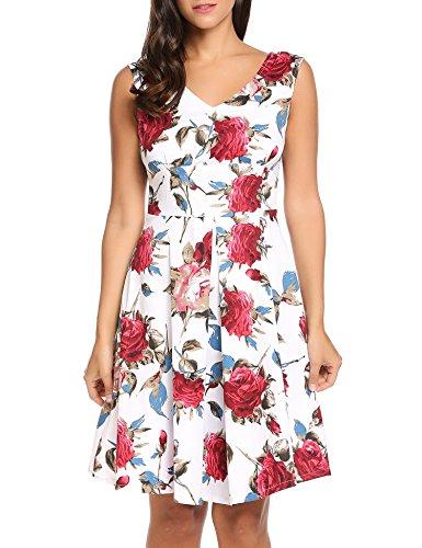 Women Casual Sleeveless V Neck Knee Length Vintage 1950's Floral Dress -