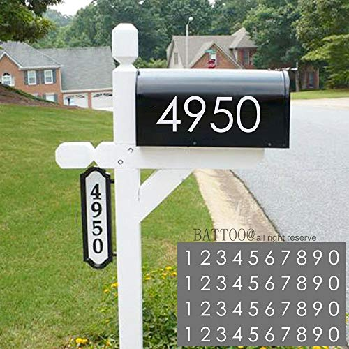 "Mailbox Numbers Sticker Decal Die Cut Classic Vinyl Number 2"" Self Adhesive 4 Sets White for Mailbox, Signs, Window, Door, Cars, Trucks, Home, Business, Address Number, Indoor or Outdoor"