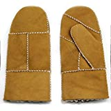 YISEVEN Women's Rugged Sheepskin Shearling Mitten Herringbone Leather Gloves Soft Thick Furry Fur Lined Warm Heated Lining Flip Cuffs for Winter Cold Weather Dress Driving Work Xmas Gifts, Camel Large