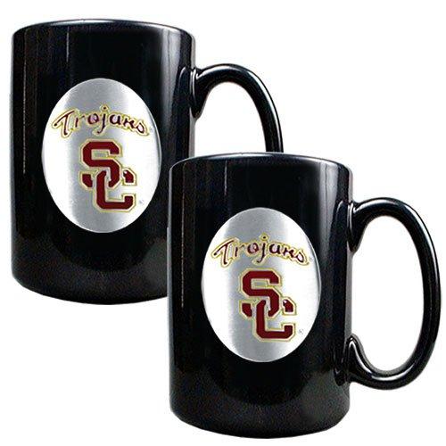 NCAA USC Trojans Two Piece Black Ceramic Mug Set