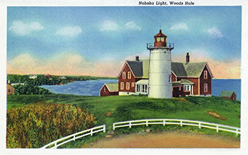 Nobska Lighthouse - Cape Cod, Massachusetts - View of the Nobska Lighthouse, Woods Hole (9x12 Fine Art Print, Home Wall Decor Artwork Poster)
