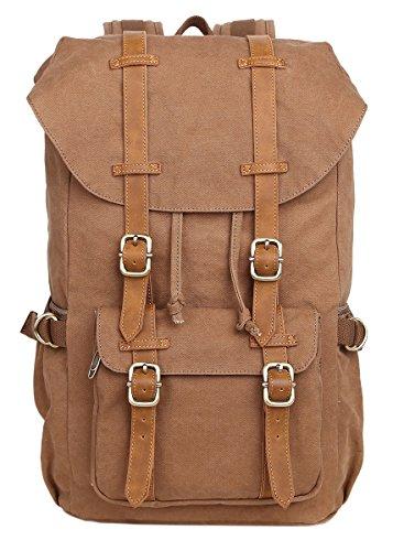 Vintage Canvas Backpack Laptop for Men Casual Bookbag for College (Khaki) - 8