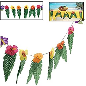 Hawaiian Luau Garland With Flowers and Green Leaves 72""
