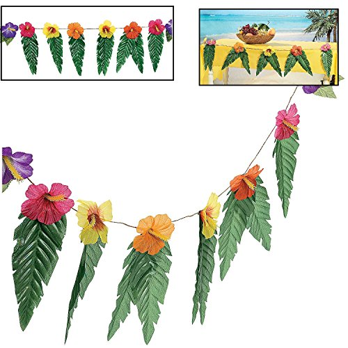 Hawaiian Luau Garland With Flowers and Green Leaves 72