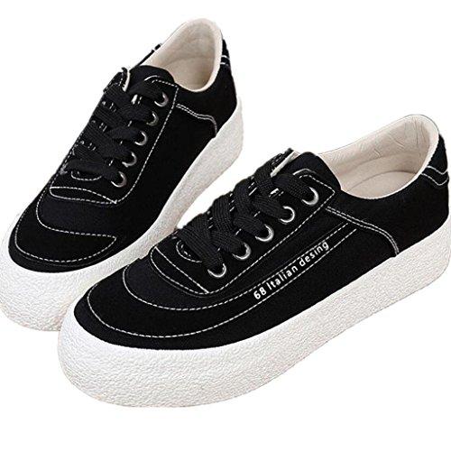 SHFANG Señora Shoes Retro Espeso Bottom Canvas Shoes Estudiantes Literarios Cómodo Ocio Movimiento Tres Colores Black