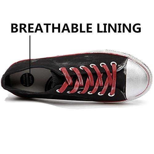Uomo Traspiranti Nero Classiche Sneakers Nero Scarpe Comode Tela Sneakers Basse da qptv8T