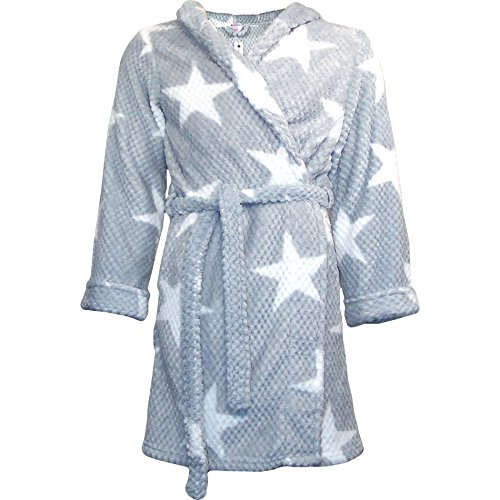 Home Soft Things Star Flannel Bath Robe, Small/Medium Size, Silver