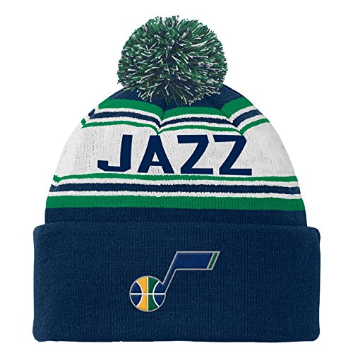 fan products of NBA Utah Jazz Youth Boys 8-20 Cuffed Knit Hat with Pom, Navy, 1 Size