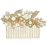 YAZILIND Bridal Wedding Floral Hair Accessory Headdress Shinning Clip Comb Hair Pins for Women Girls-Gold