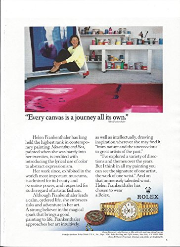 **PRINT AD** With Artist Helen Frankenthaler For 1995 Rolex Lady Datejust **PRINT AD**