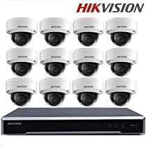 Hikvision Video Surveillance System DS-7616NI-K2/16P 16CH 16POE NVR 2SATA 4K NVR + DS-2CD2155FWD-IS 5MP Network Mini Dome CCTV Camera + Seagate 4TB HDD (16 Channel + 12 Camera)