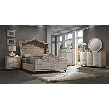 Diamond Canopy Bedroom Set King Size 5 Pc. Bed, 2 Night Stands, Dresser